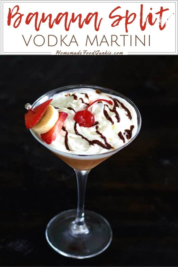 Banana split vodka martini-pin image