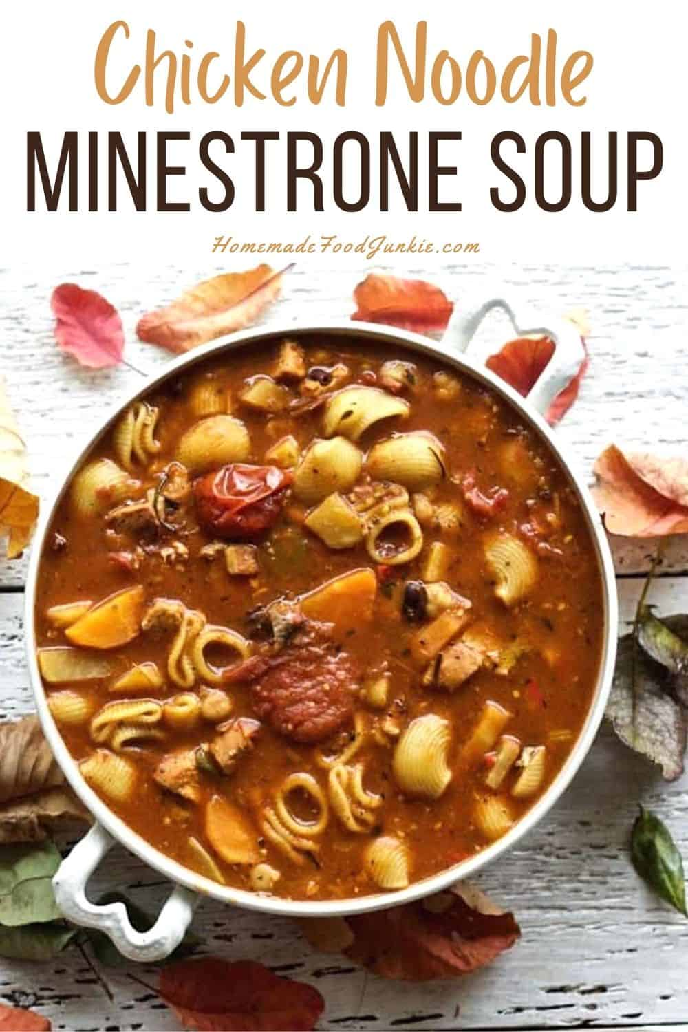 Chicken noodle minestrone soup-pin image
