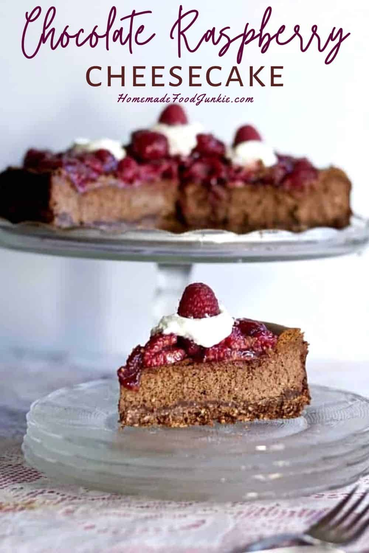 Chocolate raspberry cheesecake-pin image