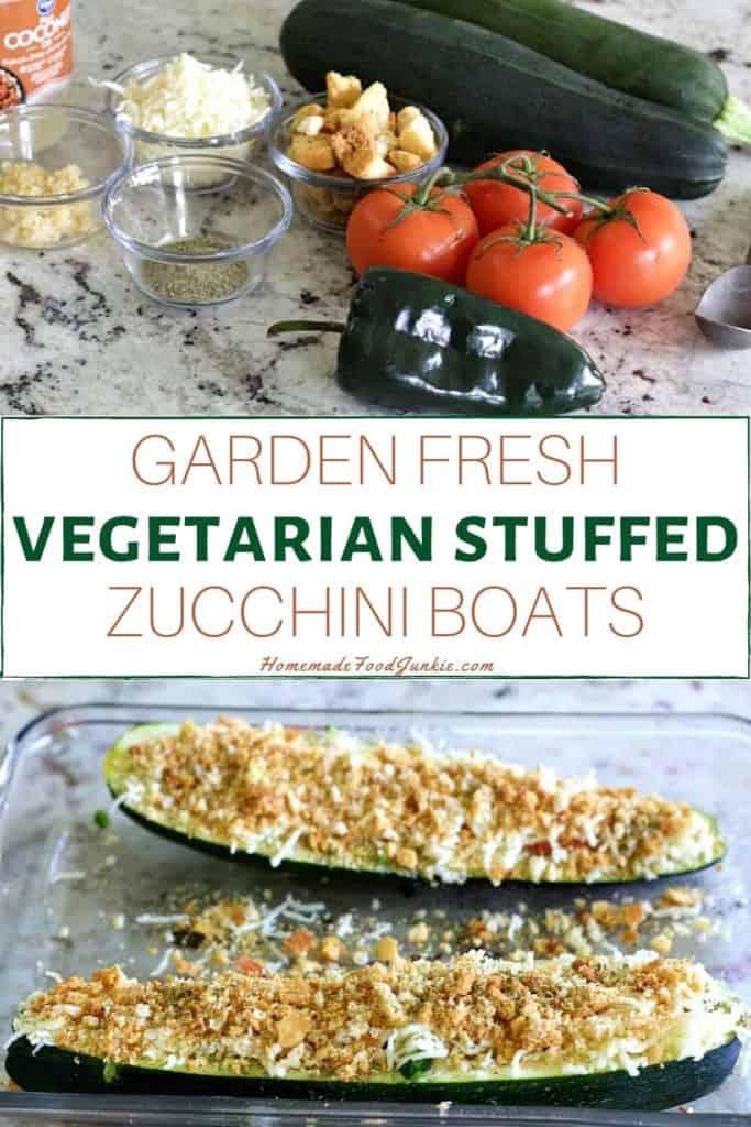 Garden fresh vegetarian stuffed zucchini boats-pin image