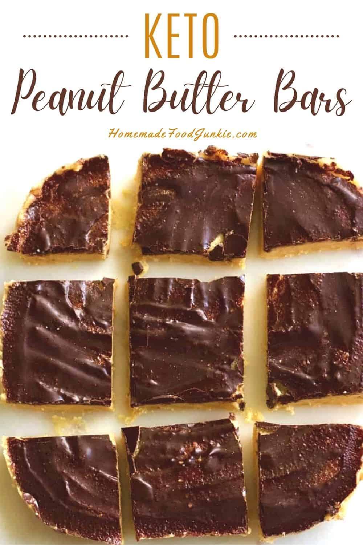 Keto peanut butter bars-pin image