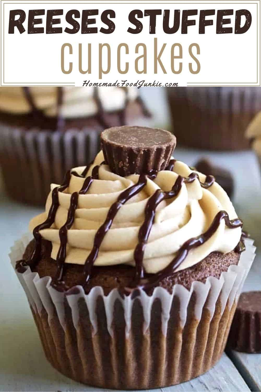 Reeses stuffed cupcakes-pin image