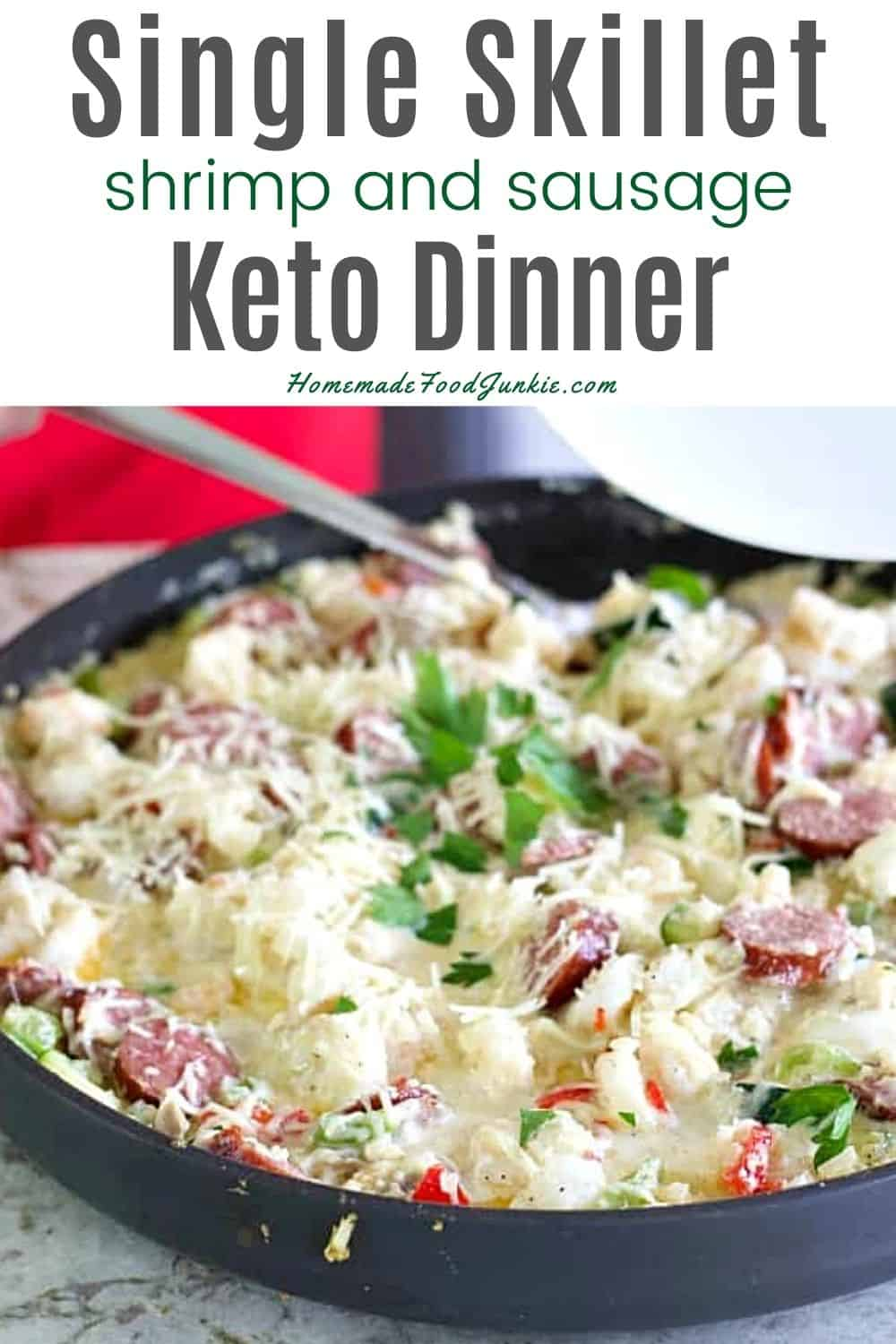 Single skillet shrimp and sausage keto dinner-pin image
