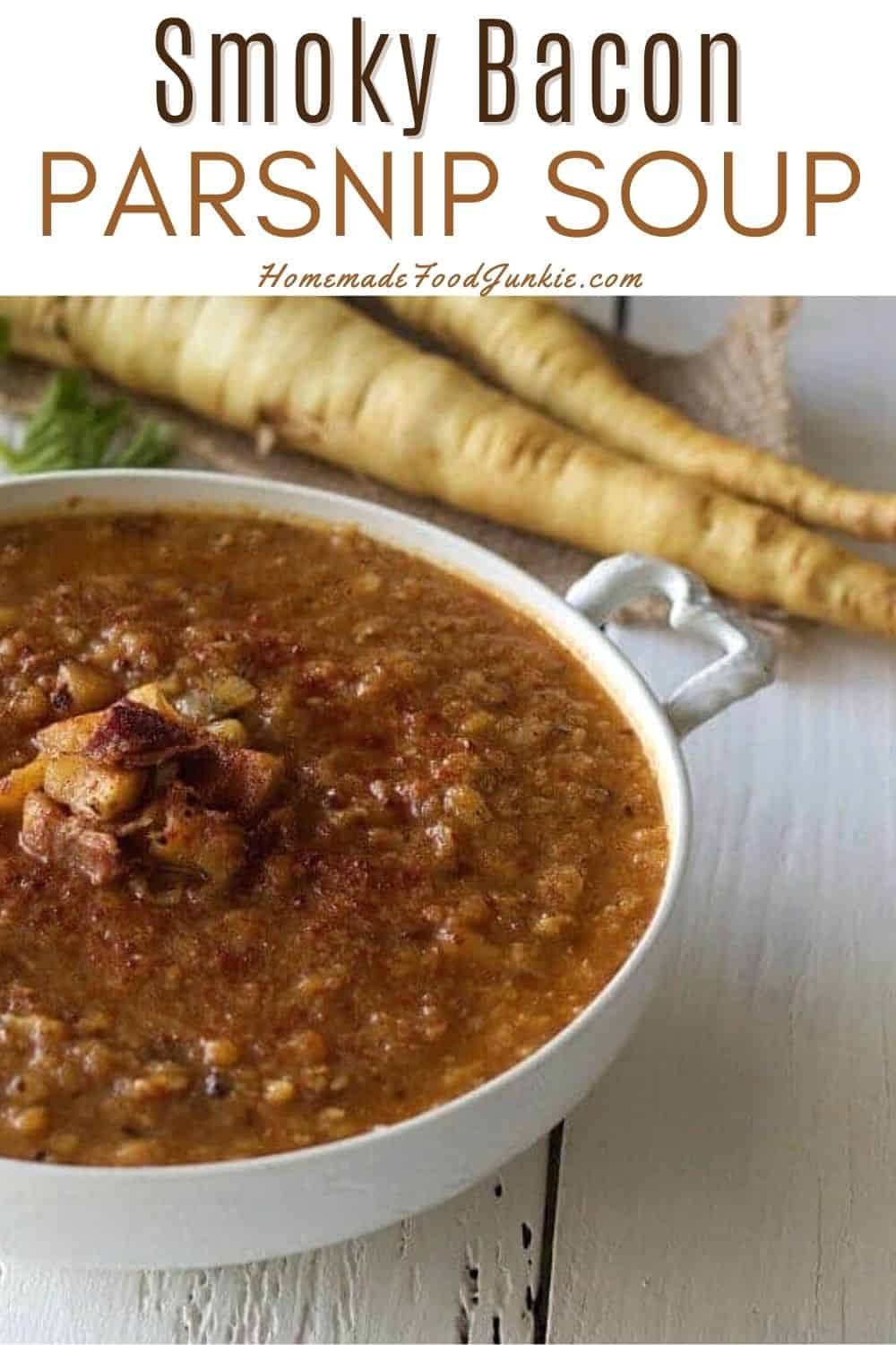 Smoky bacon and parsnip soup-pin image