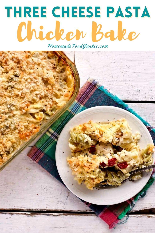 Three cheese pasta chicken bake-pin image
