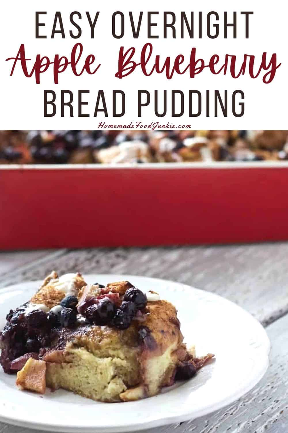 Easy overnight apple blueberry bread pudding-pin image