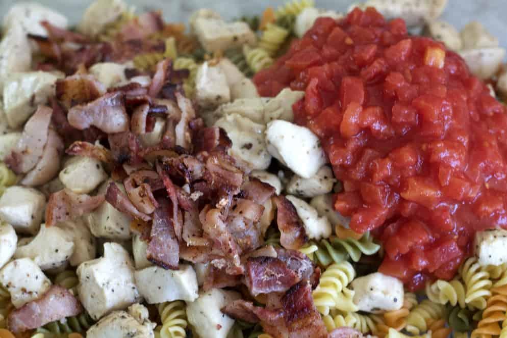 Prepared Ingredients Over Pasta