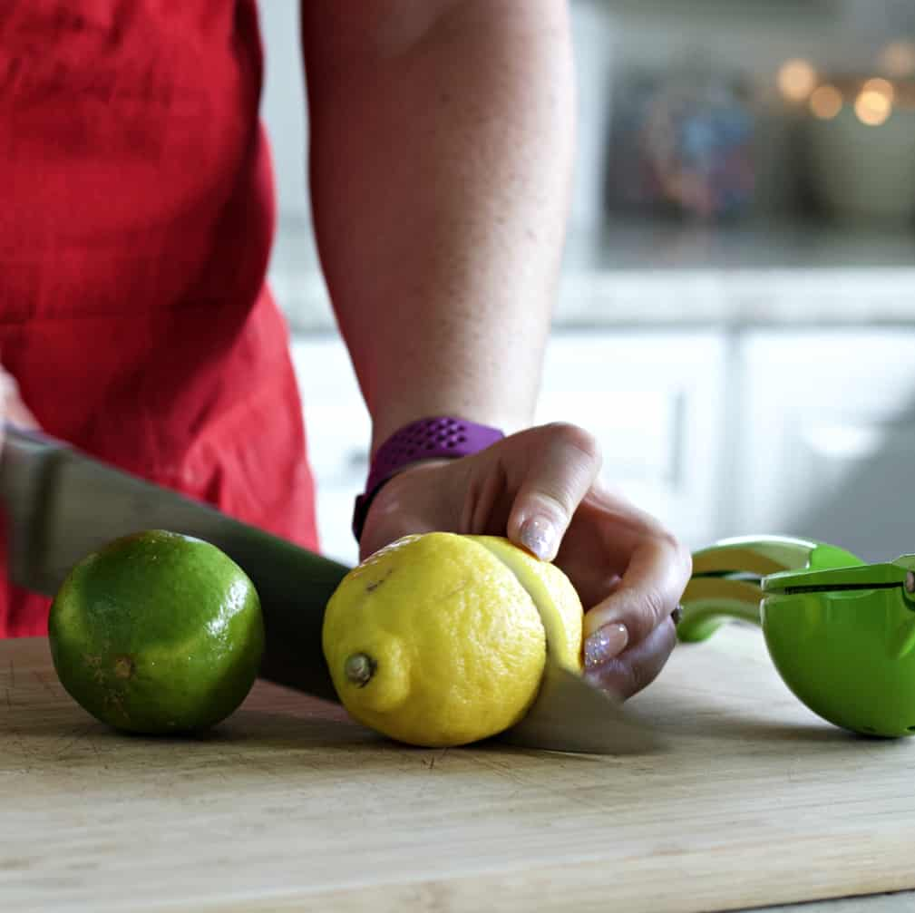 cutting lemon and lime