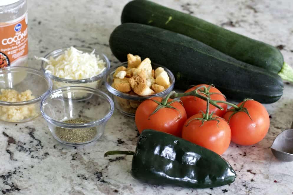 ingredients for stuffed zucchini boats vegetarian recipe Italian style