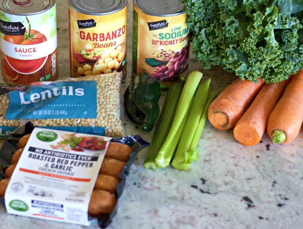 Ingredients for Instant Pot lentil soup
