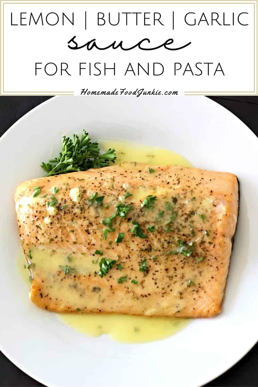 Lemon butter garlic sauce for fish and pasta-pin image