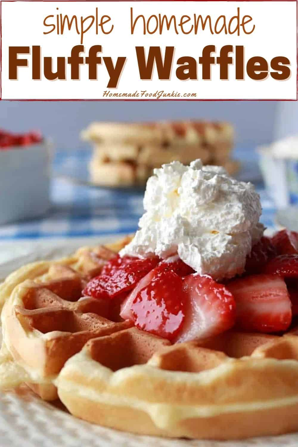 Simple homemade fluffy waffles-pin image