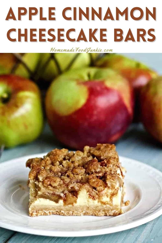 Apple cinnamon cheesecake bars-pin image