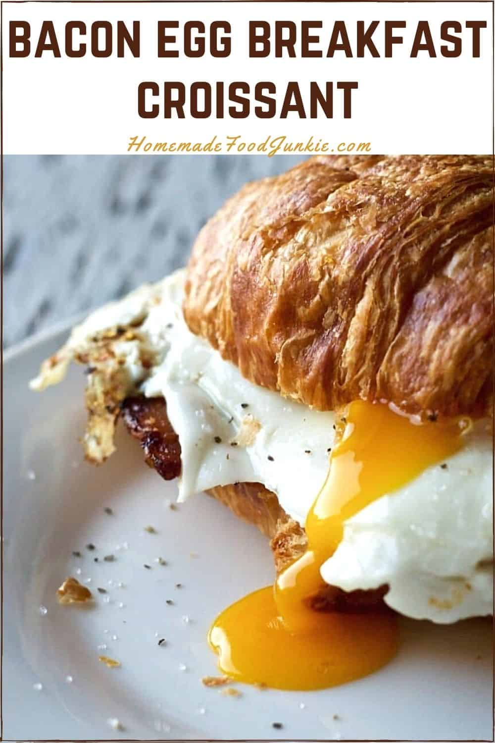 Bacon egg breakfast croissant-pin image