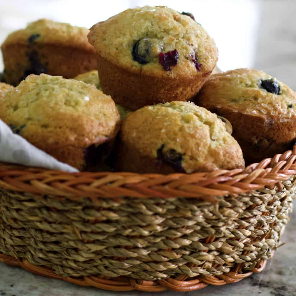 banana blueberry muffins in basket
