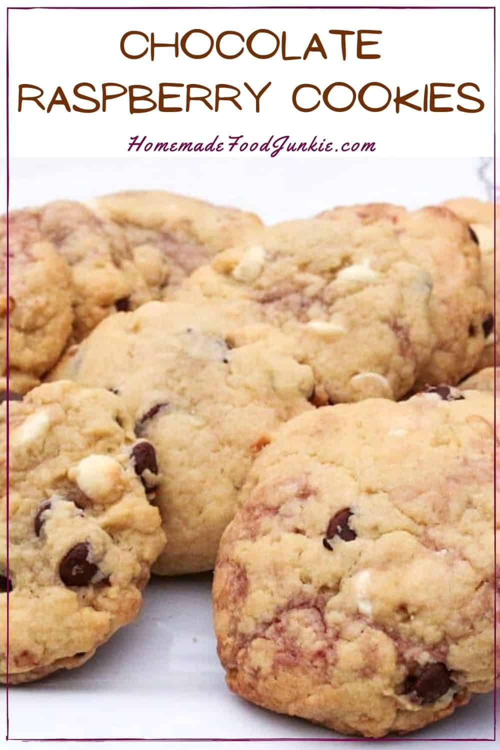 Chocolate raspberry cookies-pin image