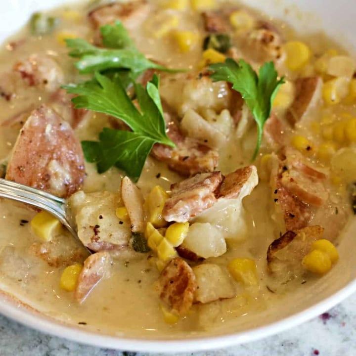 Close up instant pot corn chowder