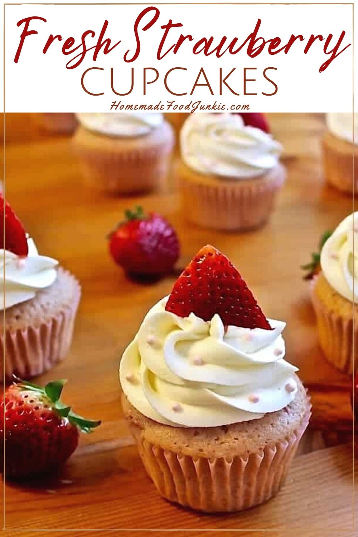 Fresh strawberry cupcakes-pin image
