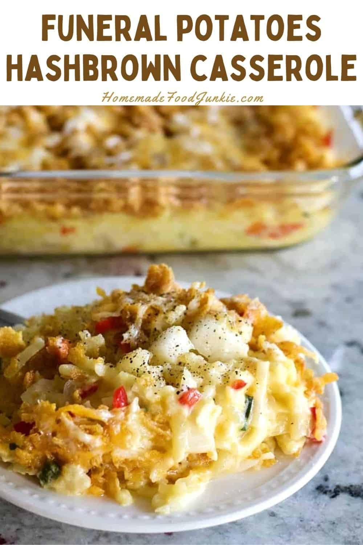 Funeral potatoes hashbrown casserole-pin image