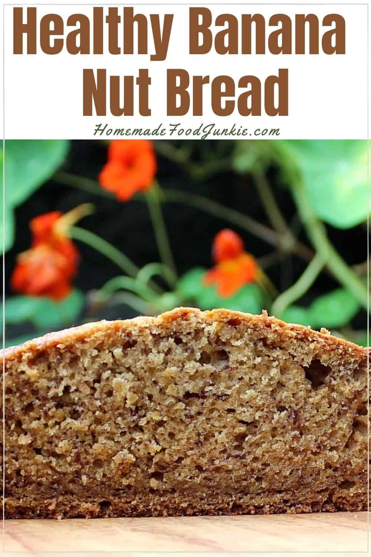 Healthy banana nut bread-pin image