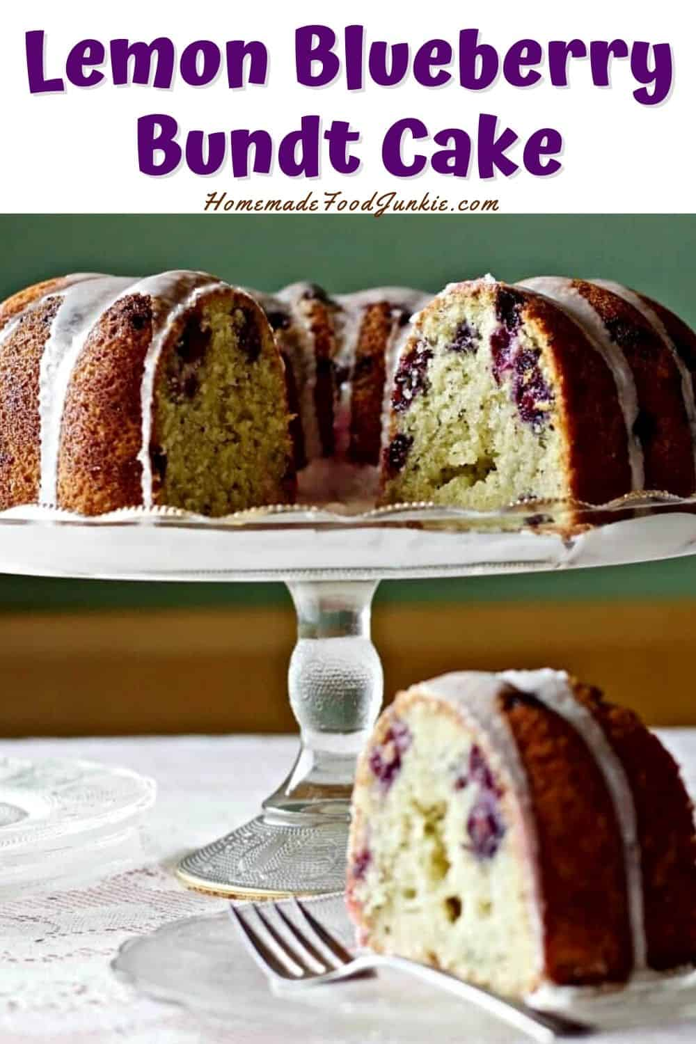 Lemon blueberry bundt cake-pin image