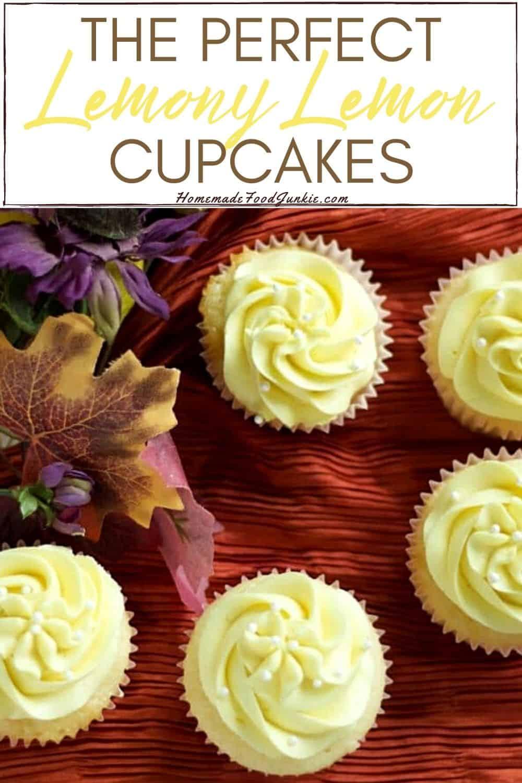 The perfect lemony lemon cupcakes-pin image