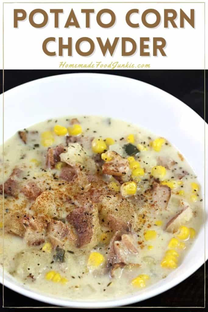 Potato corn chowder-pin image