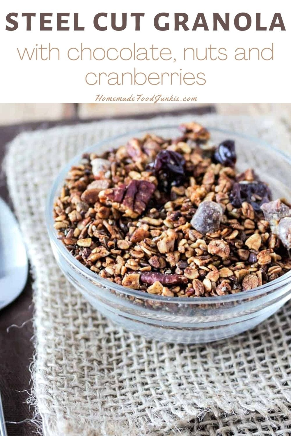 Steel cut granola with chocolate, nuts and cranberries-pin image