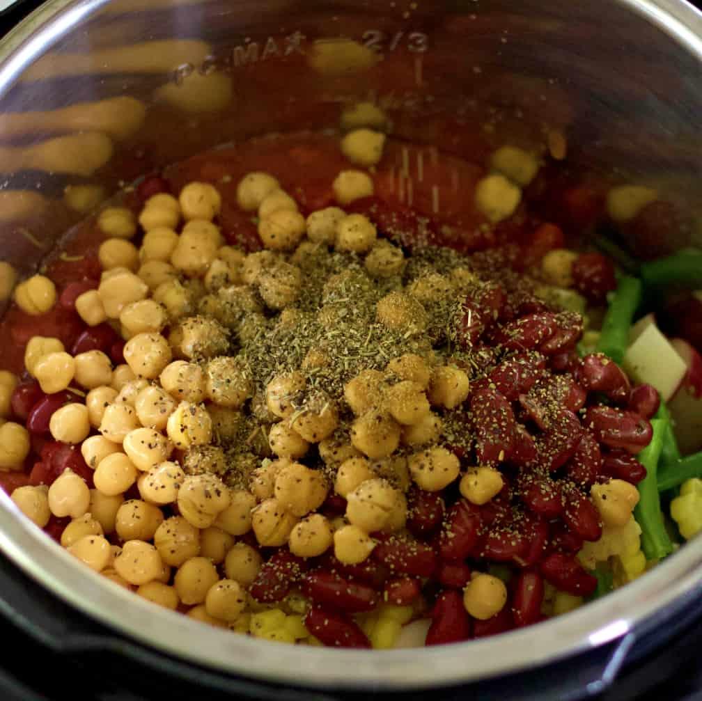 Assembling The Instant Pot Vegetable Soup
