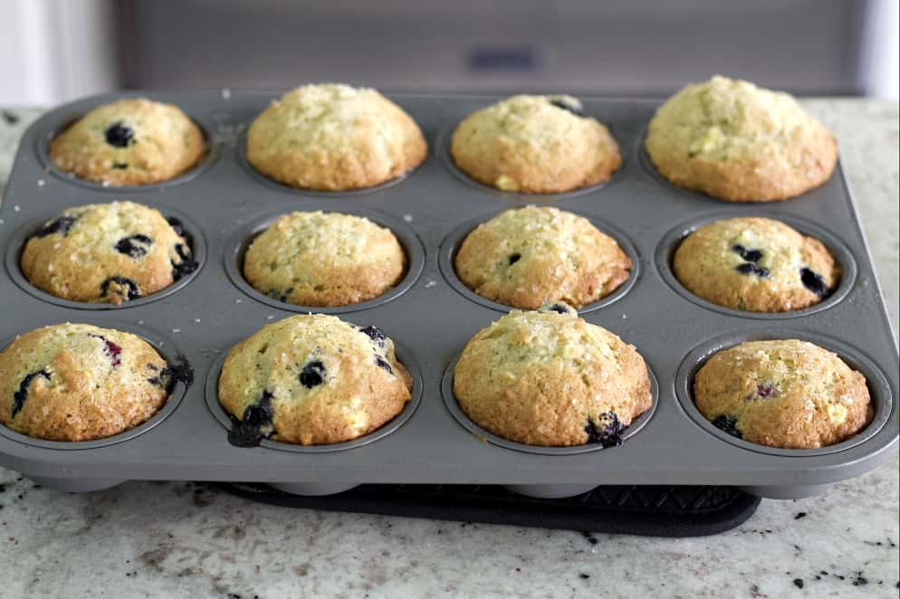 baked banana blueberry muffins
