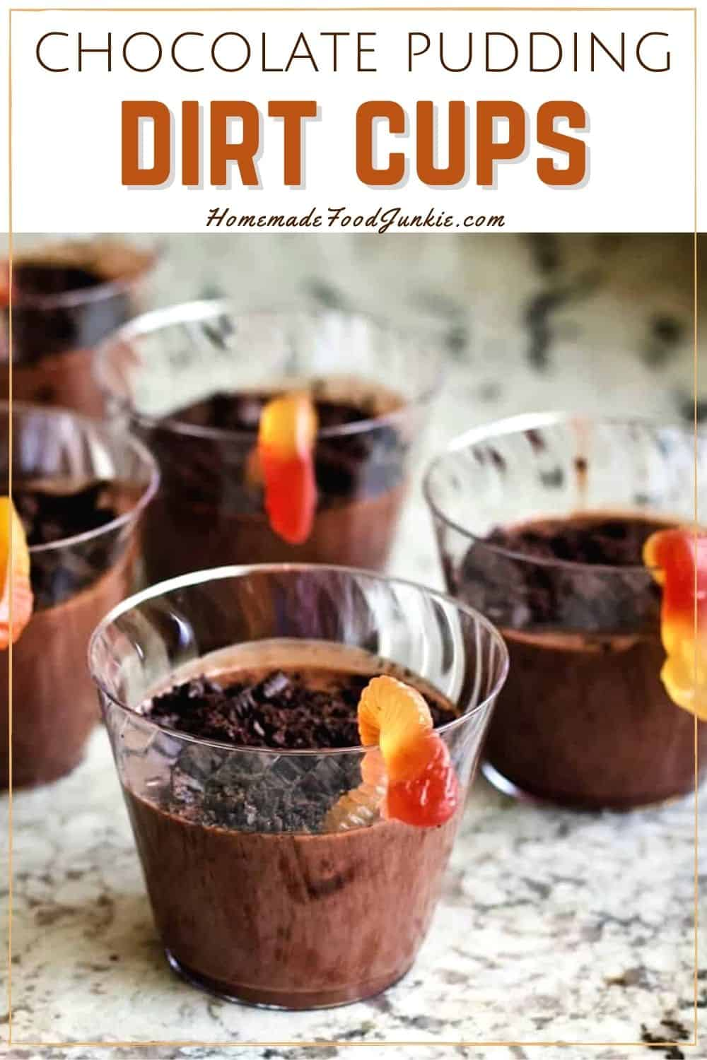Chocolate pudding dirt cups-pin image