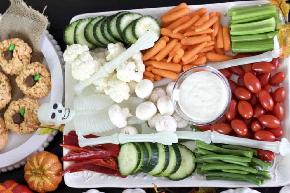 happy skeleton veggie tray