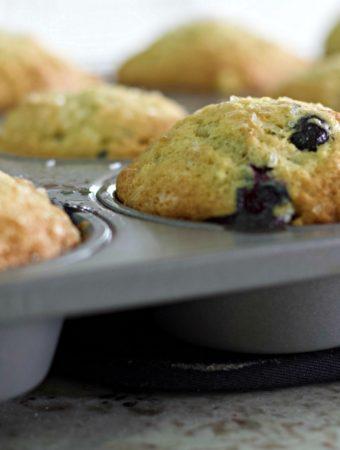 banana blueberry muffin in tin