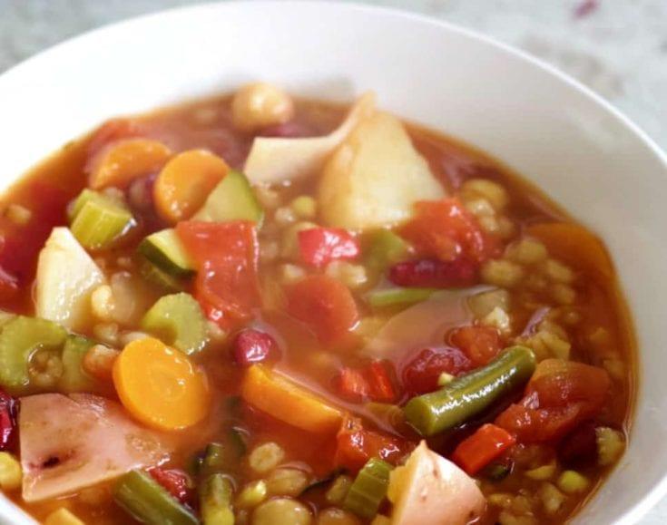 Instant Pot Vegetable Soup Close Up 1