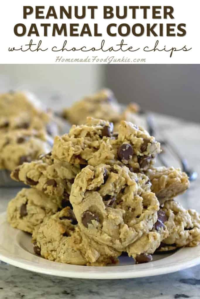 Peanut Butter Oatmeal Cookies With Chocolate Chips-Pin Image