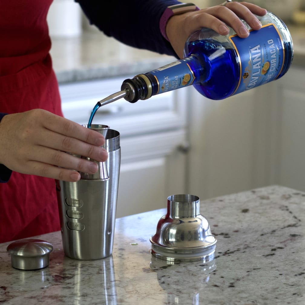 Pouring Blue Curacao