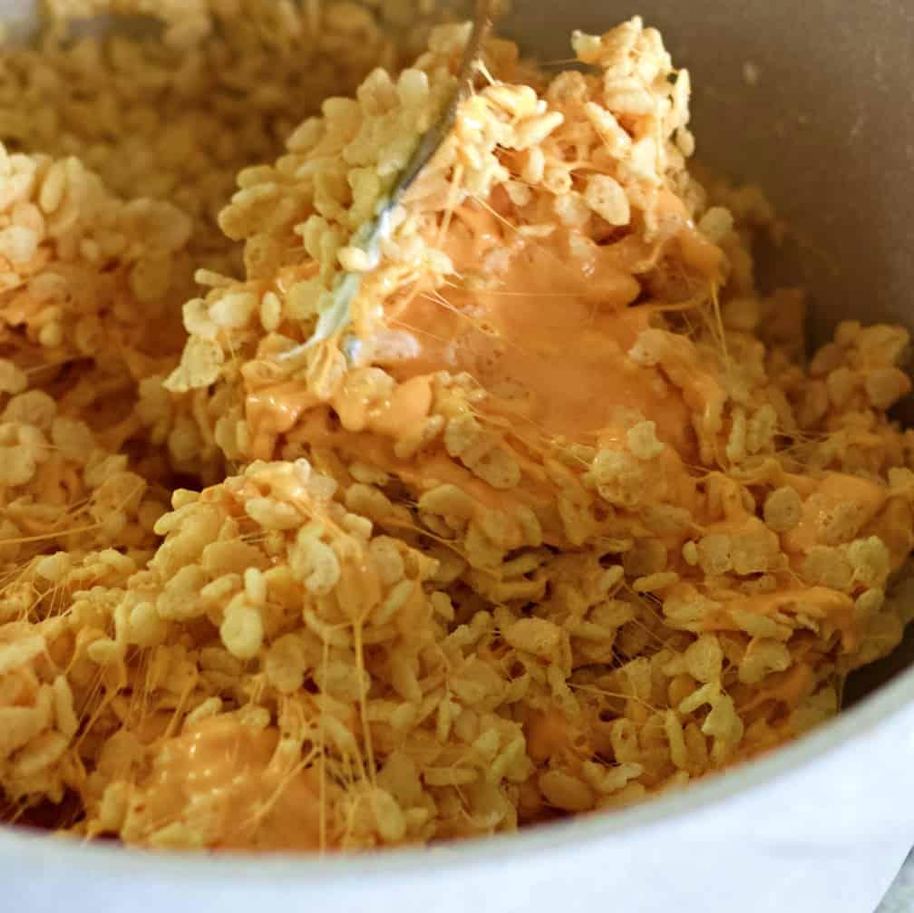 Stirring Pumpkin Rice Krispie Treats
