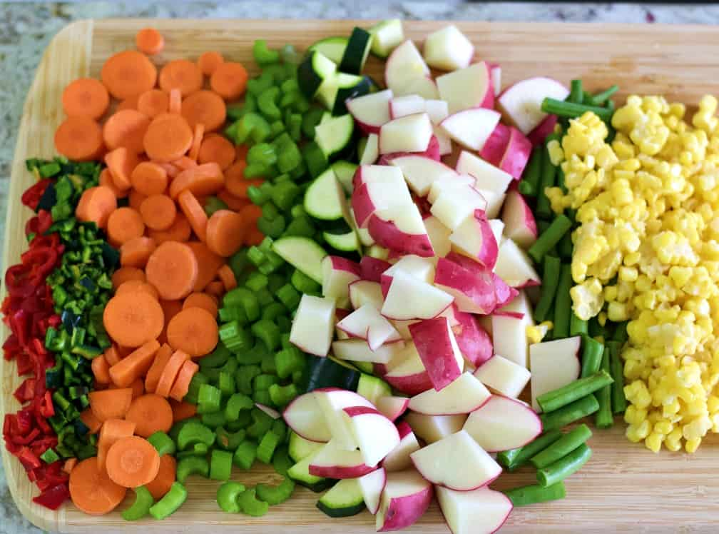 prepped veggies for instant pot vegetable soup