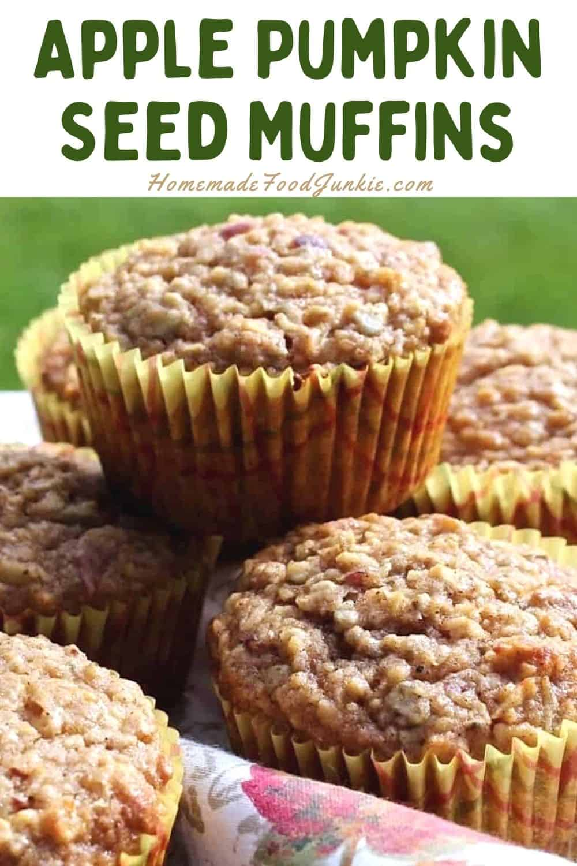 Apple pumpkin seed muffins-pin image