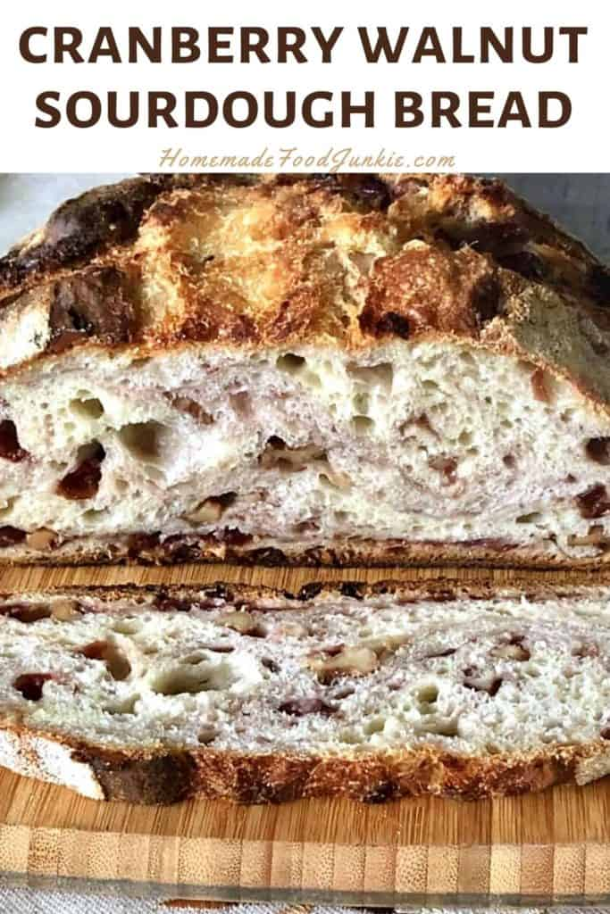 Cranberry walnut sourdough bread-pin image