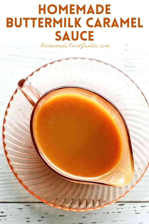 Homemade Buttermilk Caramel Sauce-Pin Image