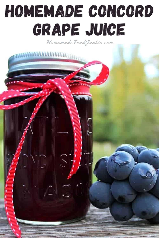 Homemade concord grape juice-pin image