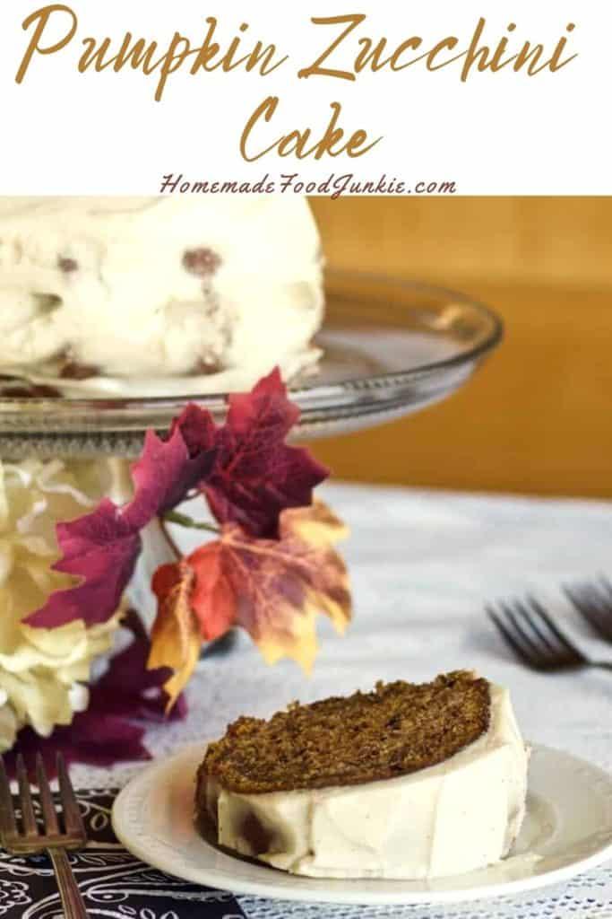 Pumpkin zucchini cake-pin image