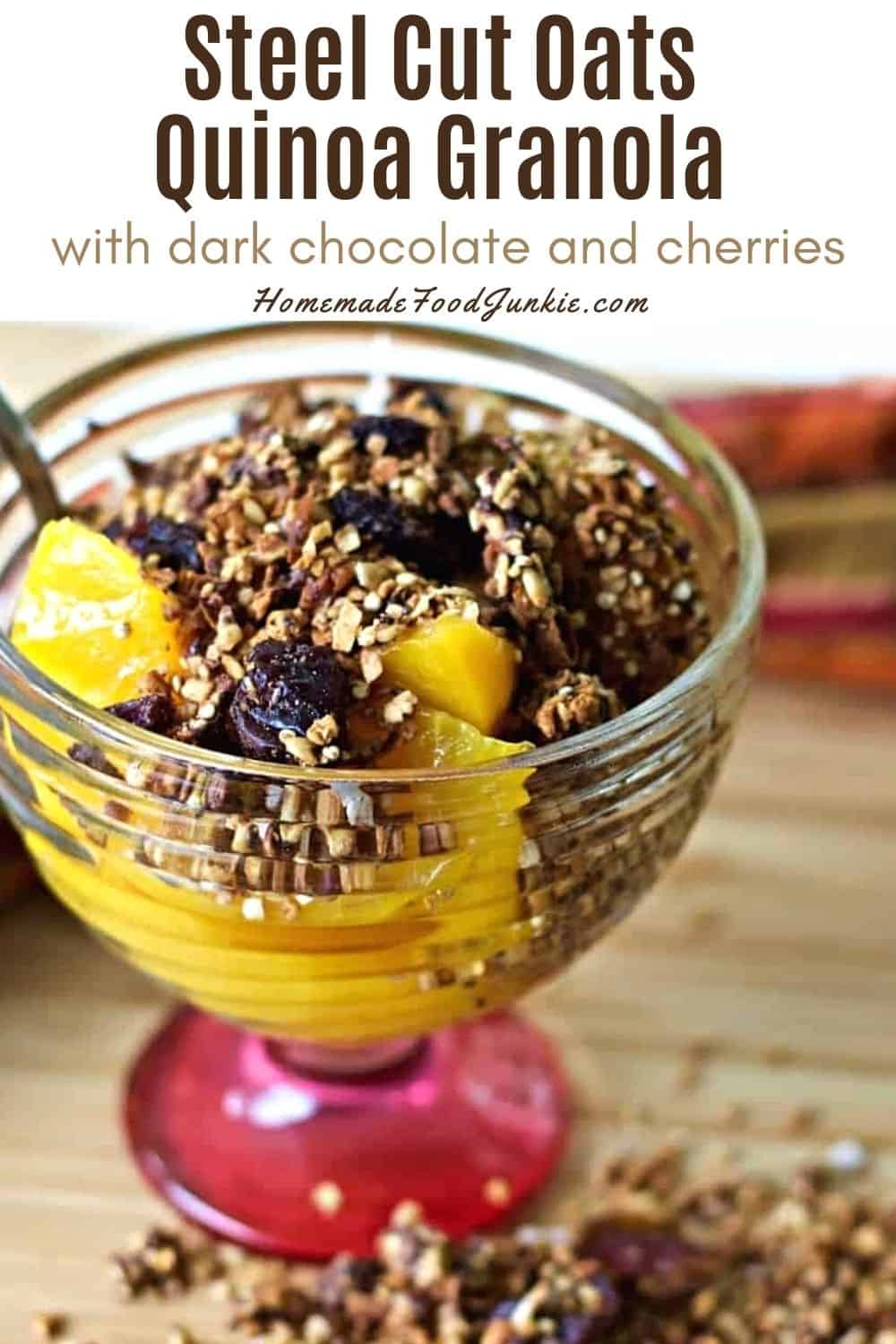 Steel cut oats quinoa granola with dark chocolate and cherries-pin image