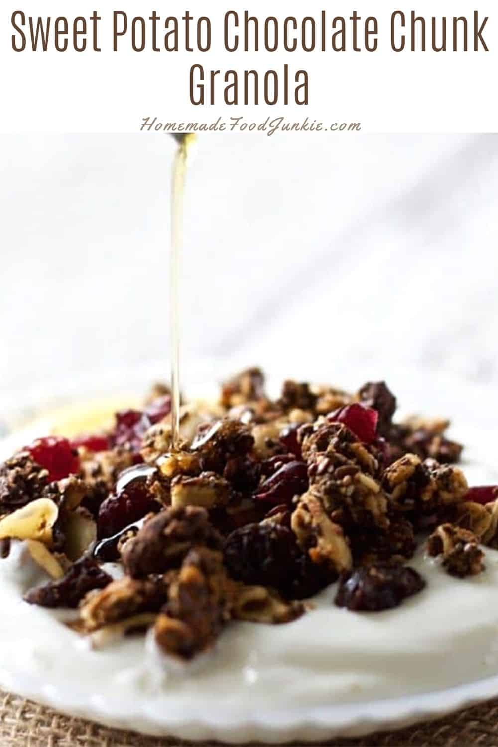 Sweet potato chocolate chunk granola-pin image
