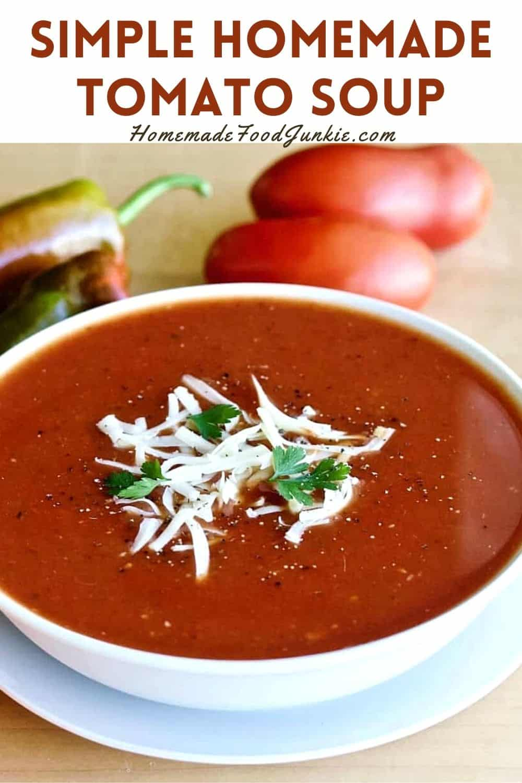 Simple homemade tomato soup-pin image