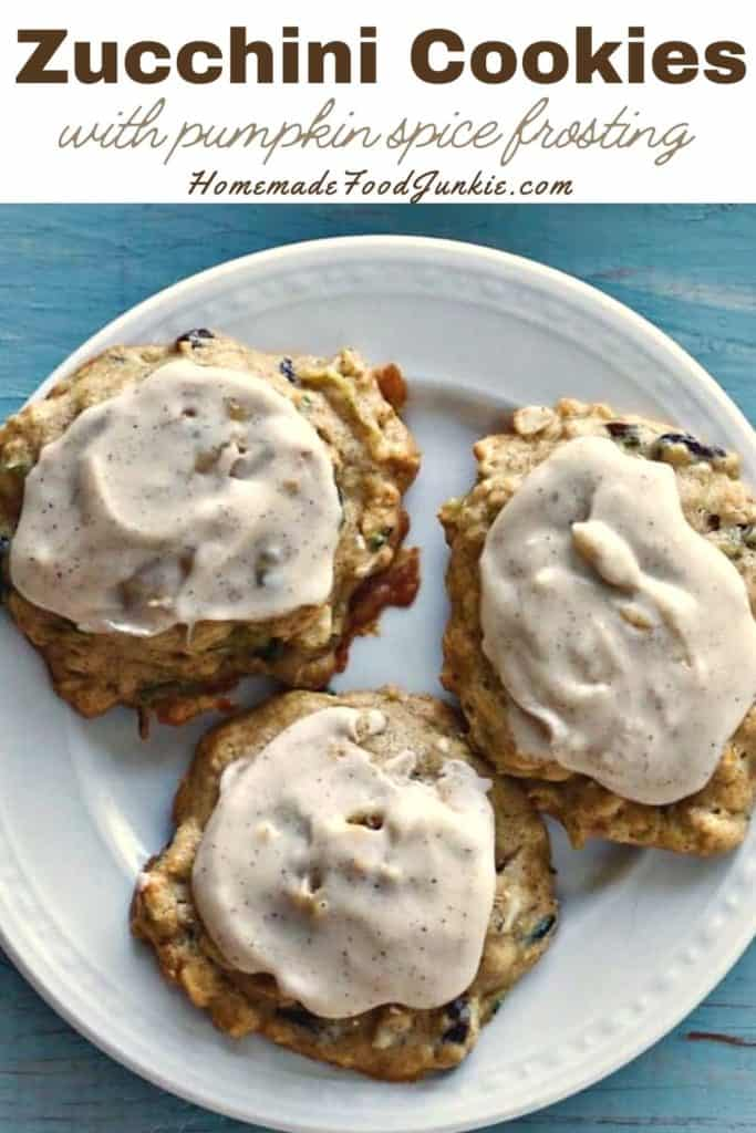 Zucchini Cookies With Pumpkin Spice Frosting-Pin Image