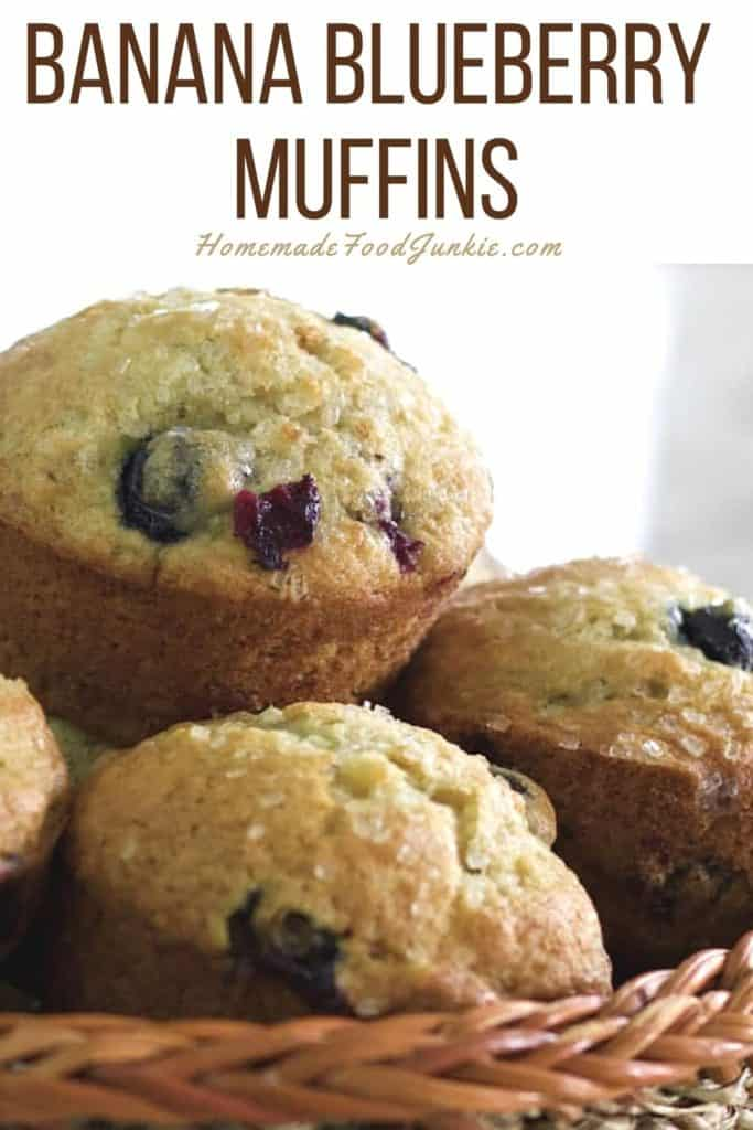 Banana blueberry muffins-pin image