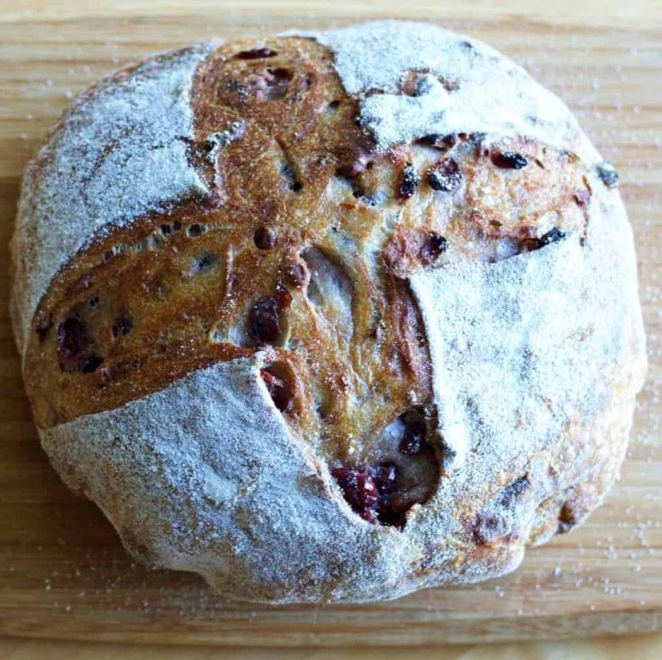cranberry walnut sourdough bread 1