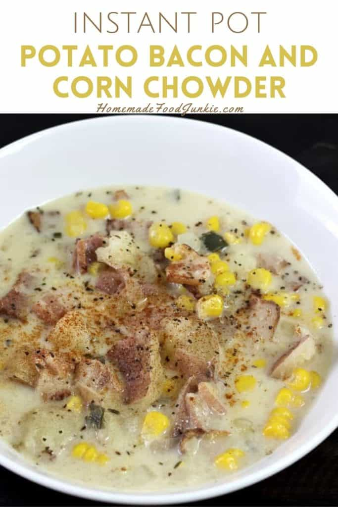 Instant pot potato bacon and corn chowder-pin image